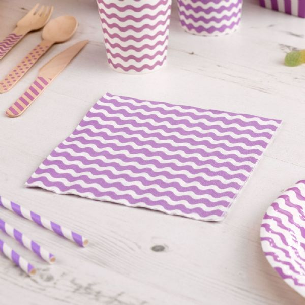 Carnival Purple Napkins - Waves (20)